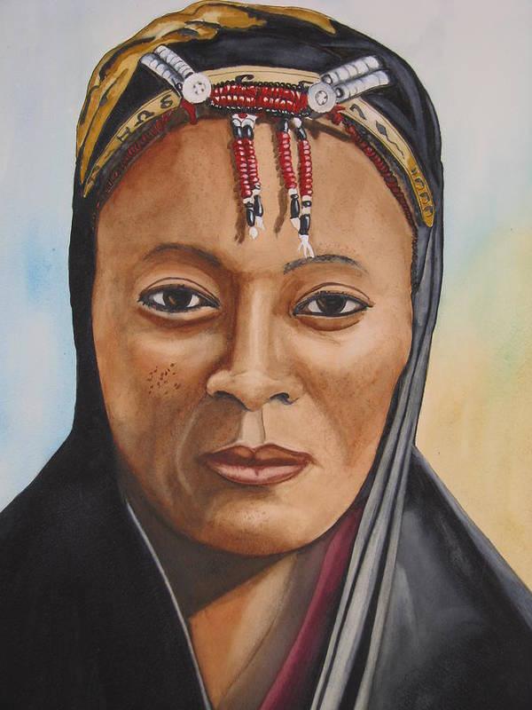 Woman Art Print featuring the painting Gabbra Woman In Black by Emmanuel Turner