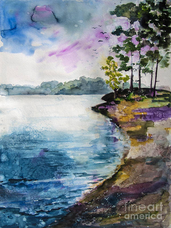Georgia Art Print featuring the painting Shores Of Lake Lanier Georgia by Ginette Callaway