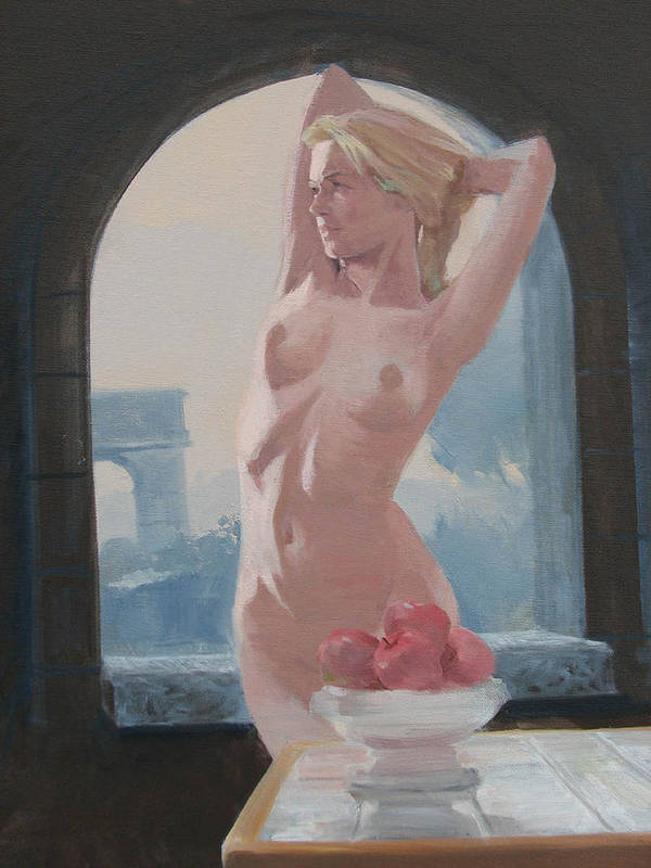 Nude Art Print featuring the painting Theodosia by Neal Smith-Willow