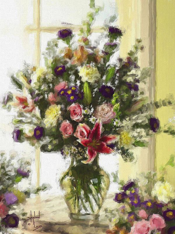 Flowers Art Print featuring the digital art Afternoon Kissed Of Color by Stephen Lucas