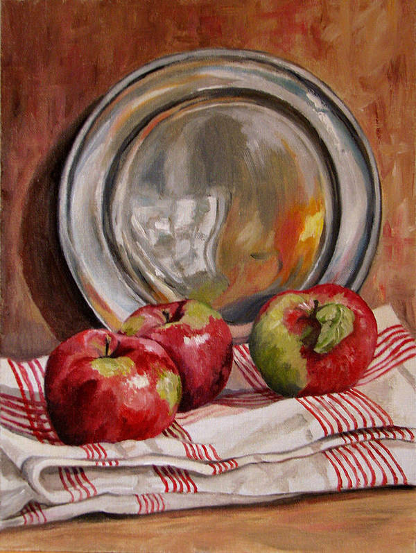 Apples Art Print featuring the painting Apples And Pewter by Cheryl Pass