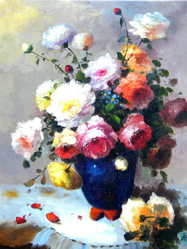 Still Life Flowers Art Print featuring the painting Blue Vase by Imagine Art Works Studio