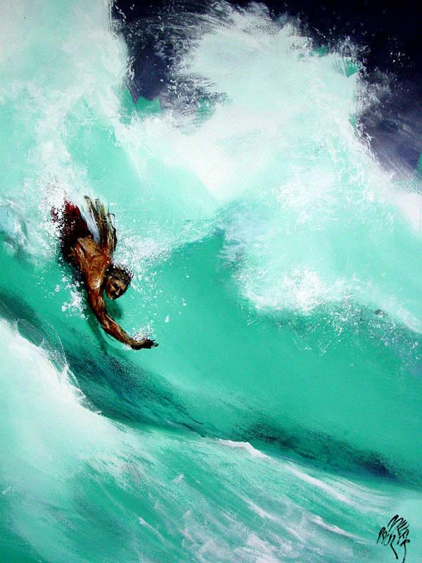 Body Surfer Art Print featuring the painting Brad Miller In Makaha Shorebreak by Paul Miller