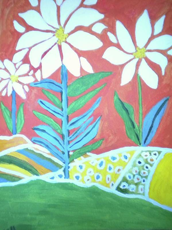 Flowers Art Print featuring the painting Flowers In Field by Victoria Hasenauer