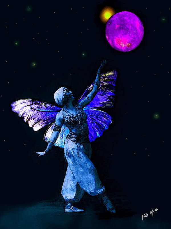 Fairy Art Print featuring the painting Genie And The Moon by Tray Mead