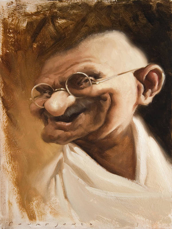 Mahatma Gandhi Art Print featuring the painting Ghandi by Court Jones
