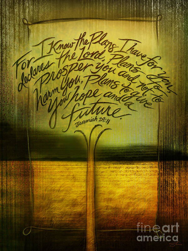 Jeremiah 29:11 Art Print featuring the mixed media God's Plans by Shevon Johnson