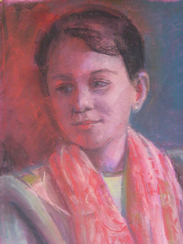 This Wonderfully Fair Young Woman With He Patterned Pink Scarf Was Created In A Cool Light Cast; Her Serene Pose And The Lighting Really Bring Out The Colors In This Beautiful Portrait. Art Print featuring the pastel In The Light by Pamela Preciado