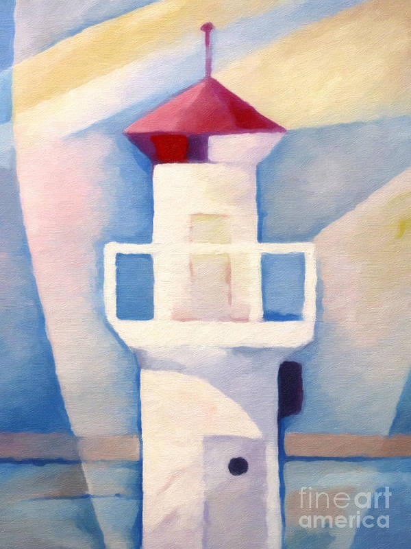 Lighthouse Art Print featuring the painting Light by Lutz Baar