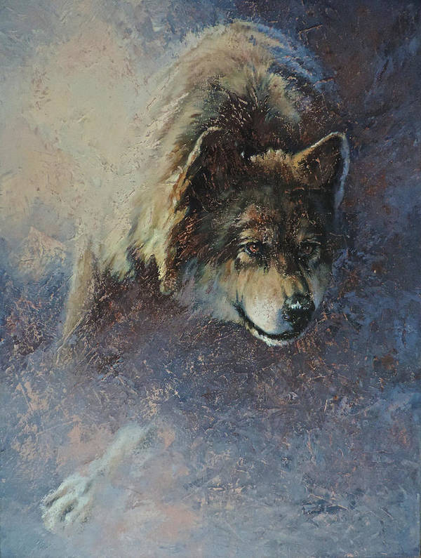 Wolves Art Print featuring the painting Locked On Target by Mia DeLode