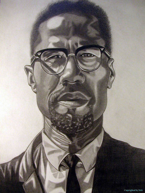 Pencil Art Print featuring the drawing Malcom X by Nick H