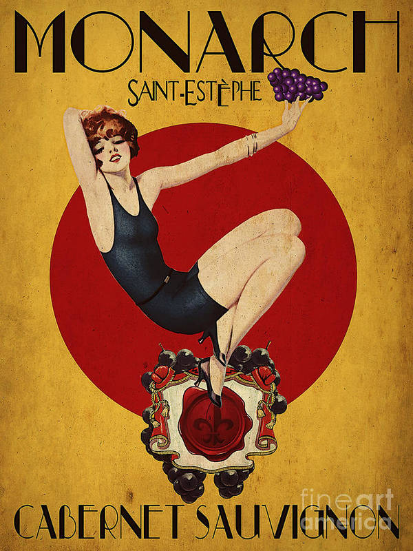 Wine Art Print featuring the digital art Monarch Wine A Vintage Style Ad by Cinema Photography