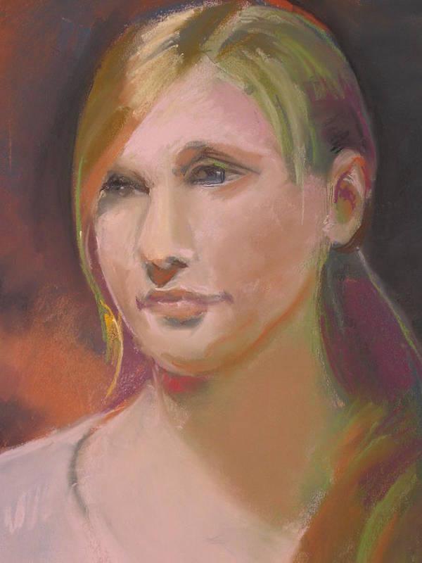 This Portrait Of Sonia Art Print featuring the pastel Portrait Of Sonia by Pamela Preciado