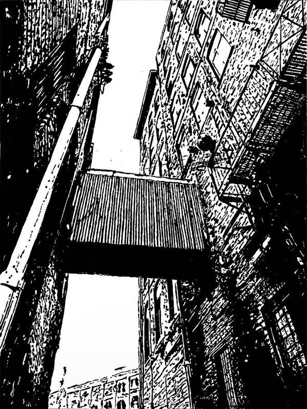 Art Print featuring the painting Sky Bridge - Black And White by Rob Blauser