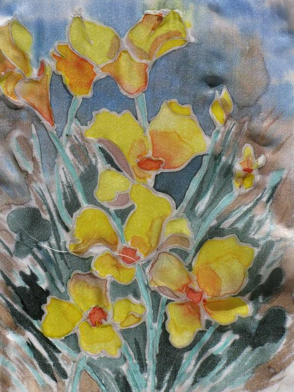 Floral Art Print featuring the painting Yellow Flowers At Arboretum by Kathy Mitchell