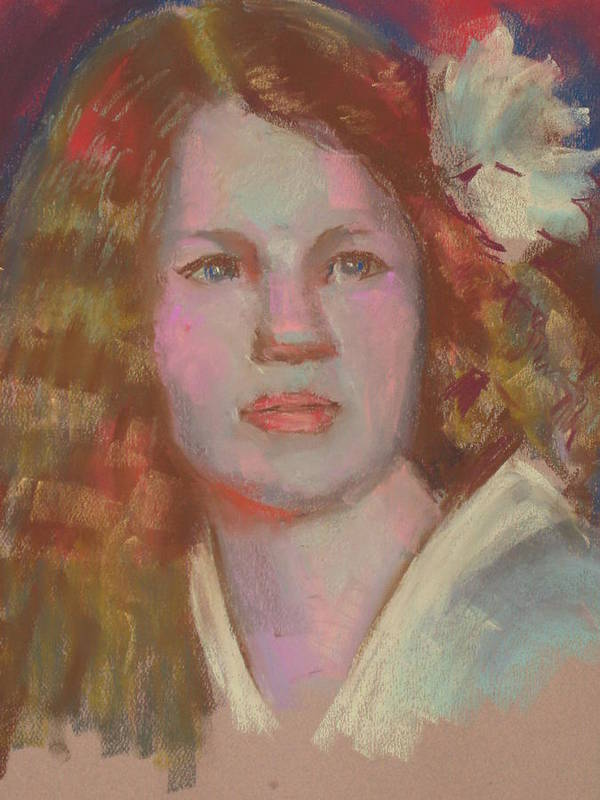 This Pastel Protrait Was Created In Low Art Print featuring the pastel Young Girl With Flower In Her Hair by Pamela Preciado