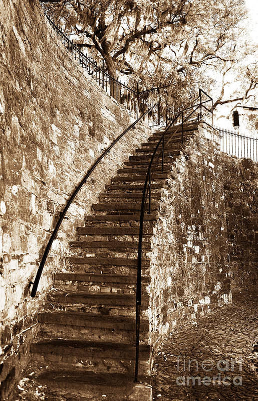 Retro Stairs In Savannah Art Print featuring the photograph Retro Stairs In Savannah by John Rizzuto