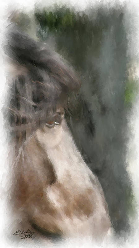 Horse Art Print featuring the painting Misty Morn by Elzire S