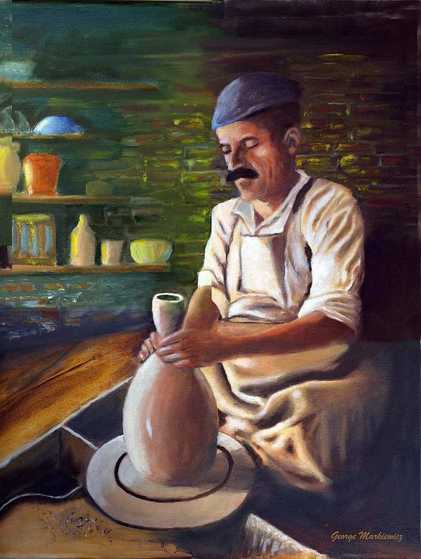 Potter At Work Art Print featuring the print Potter At Work by George Markiewicz