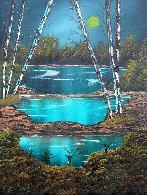 Landscape Art Print featuring the painting Midnight Ponds by Sheldon Morgan