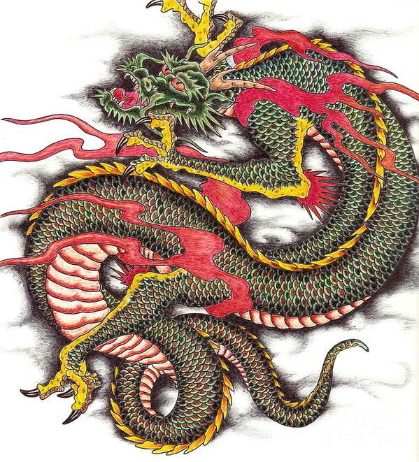 Creature Art Print featuring the drawing Asian Dragon by Maria Arango
