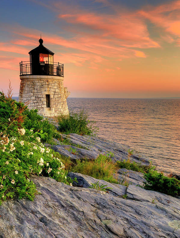 Lighthouse Art Print featuring the photograph Castle Hill Lighthouse-rhode Island by Thomas Schoeller