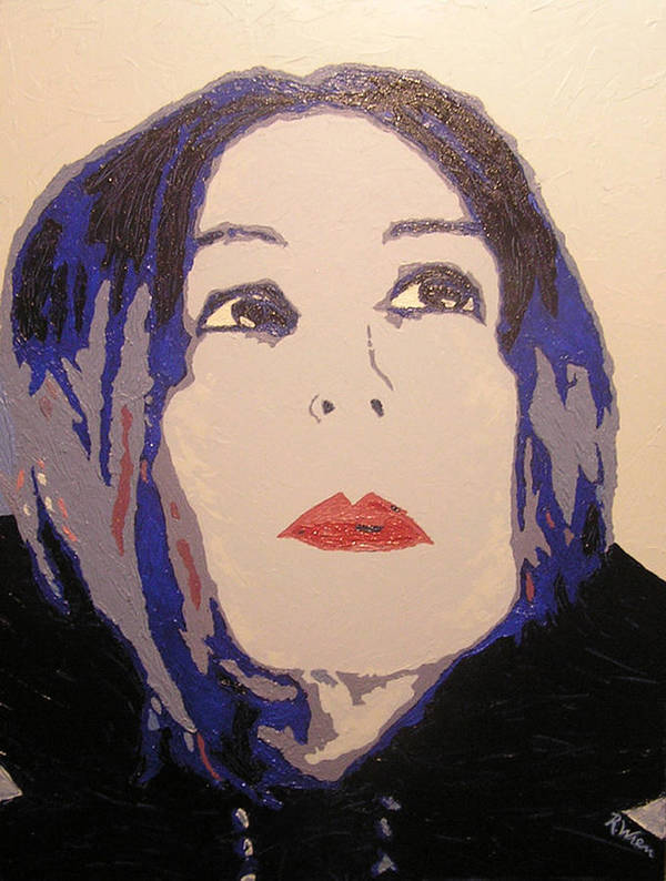 Portrait Art Print featuring the painting Beauty Beyond The Blue by Ricklene Wren