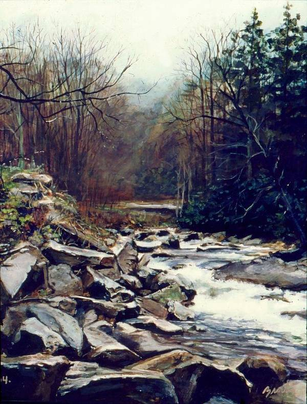 Landscape Art Print featuring the painting Cherokee Stream by William Brody