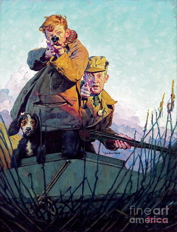 Rockwell Art Print featuring the painting His First Duck by Norman Rockwell