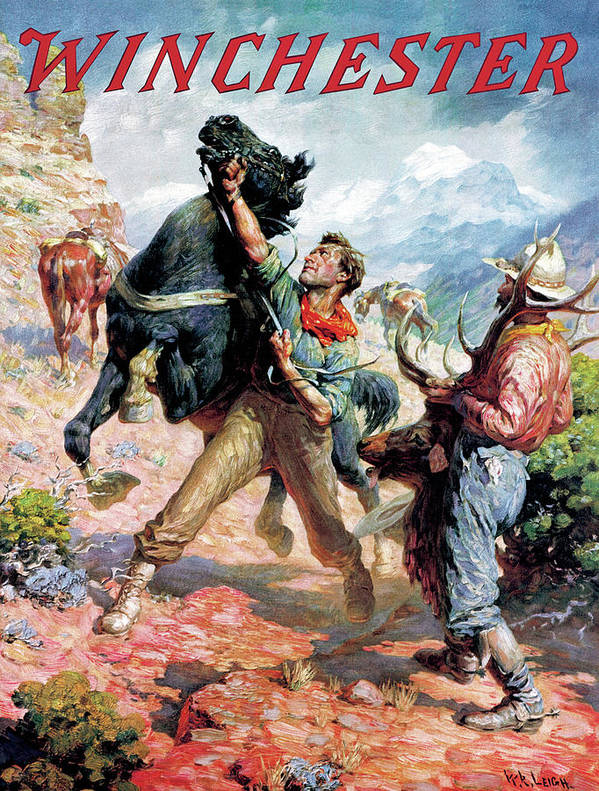 Cowboys Art Print featuring the painting Hold Em Steady by W R Leigh