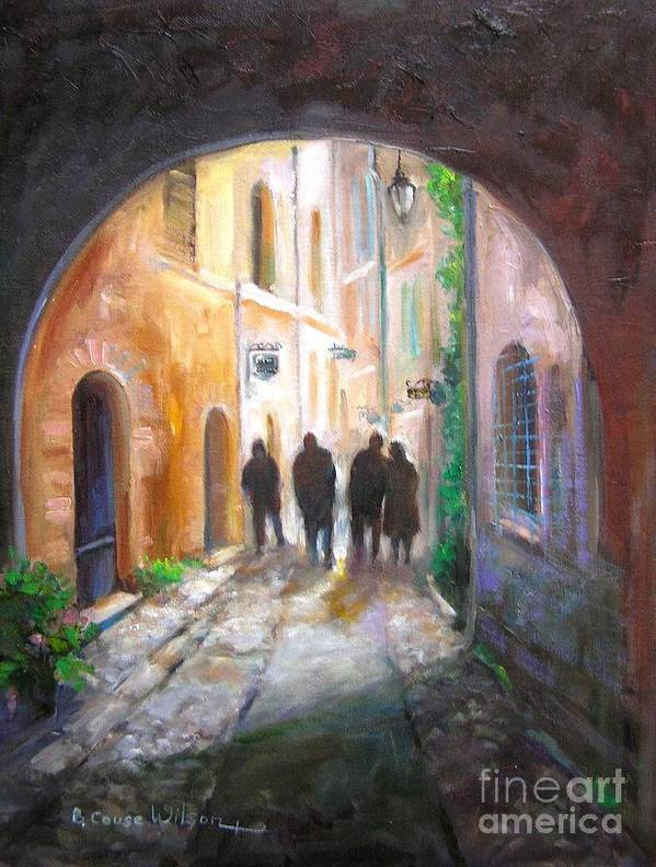 Italian Art Print featuring the painting Italian Street Scene by Barbara Couse Wilson