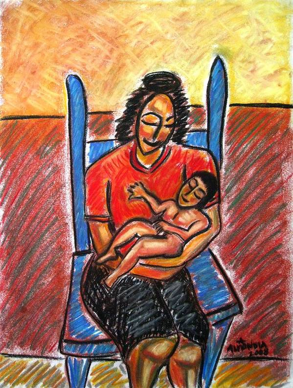 Mother Art Print featuring the painting Mother's Touch by Albert Almondia
