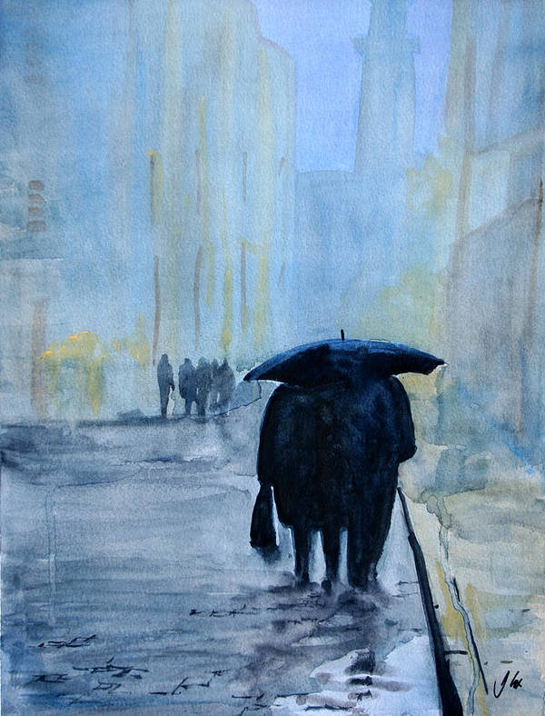 City. Raining. Figure. Evening. Art Print featuring the painting Rainy Evening Walk. by John Cox