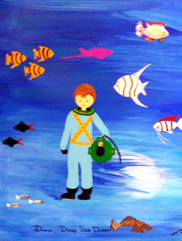 Children\\ Art Print featuring the painting Sea Diver by Sandi Stonebraker
