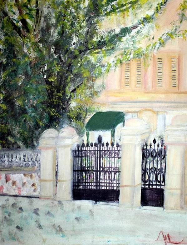 Architecture Art Print featuring the painting The Gatehouse At Villa Mariposa by Michela Akers