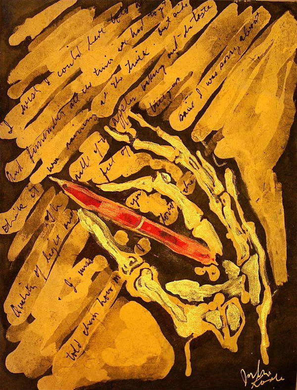Skeleton Hand Art Print featuring the painting What The Dead Write by Julie Komenda