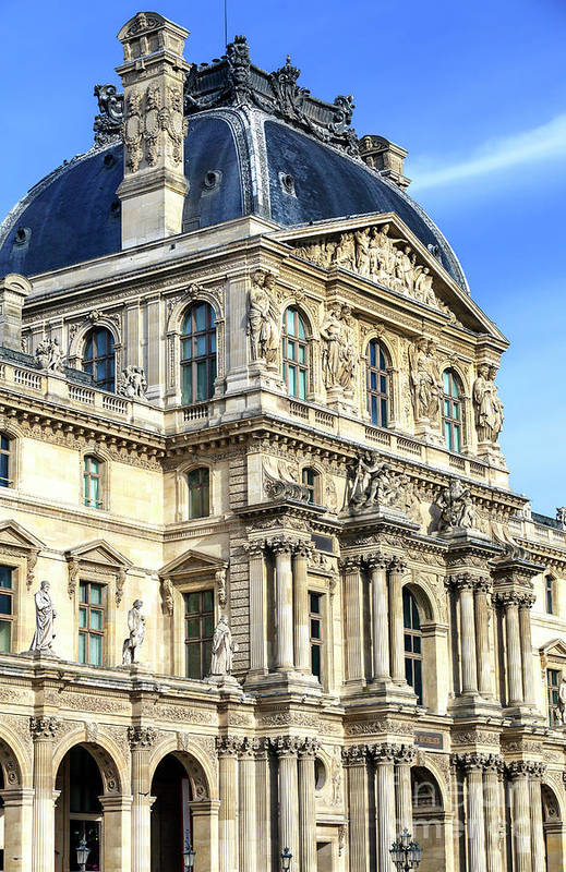 Louvre Columns Art Print featuring the photograph Louvre Columns In Paris by John Rizzuto