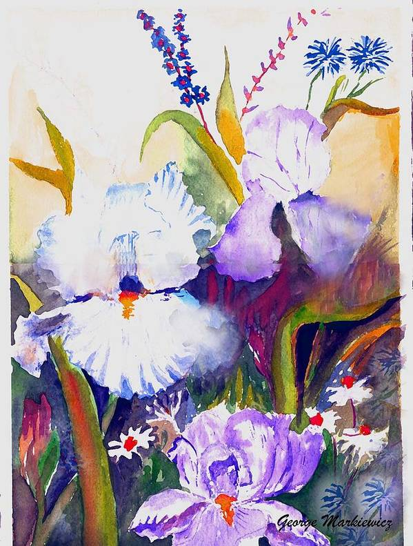 Flowers Art Print featuring the print Iris by George Markiewicz
