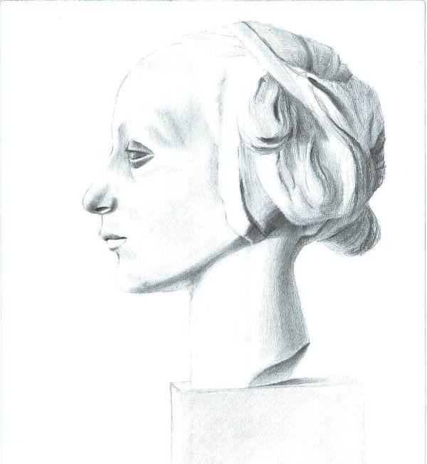 Woman Art Print featuring the drawing V by Irina Alexandrova