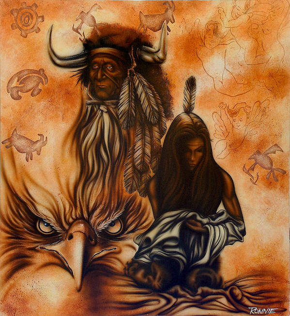 Portrait Indian Art Print featuring the painting Cherokee Mist by Ronnie Jackson