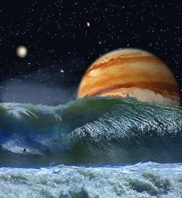 David Jackson Running The Vortex Surfing Alien Landscape Planets Scifi Art Print featuring the digital art Running The Vortex by David Jackson