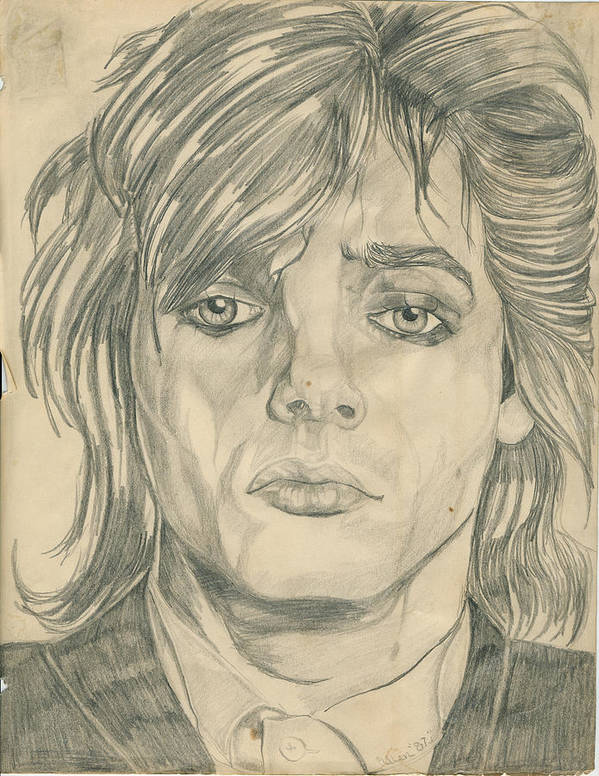 Nick Rhodes Art Print featuring the drawing Nick Rhodes by Allen Walters