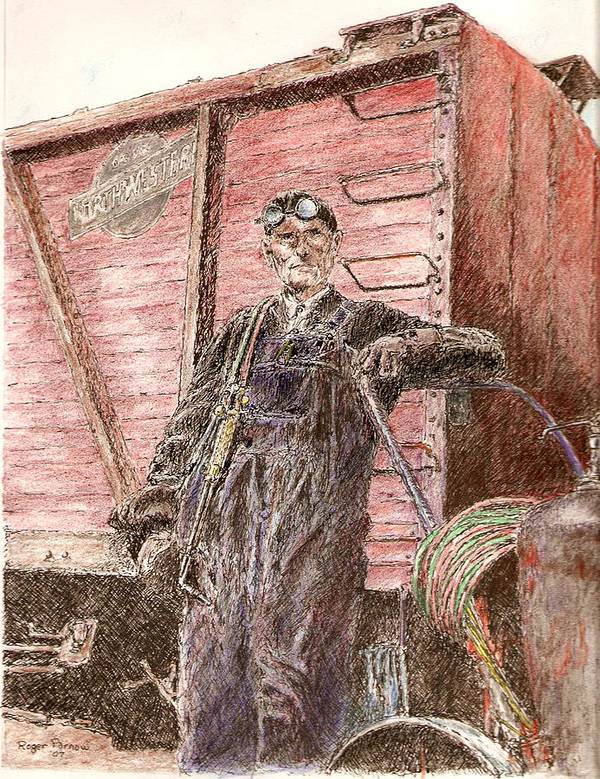 Welder Art Print featuring the painting Welder by Roger Parnow