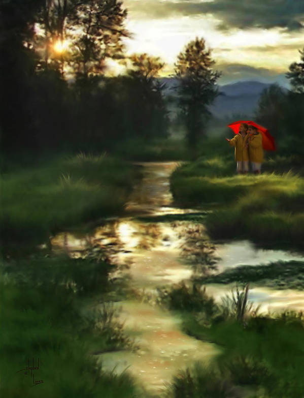 Boys Art Print featuring the digital art After Morning Rain by Stephen Lucas