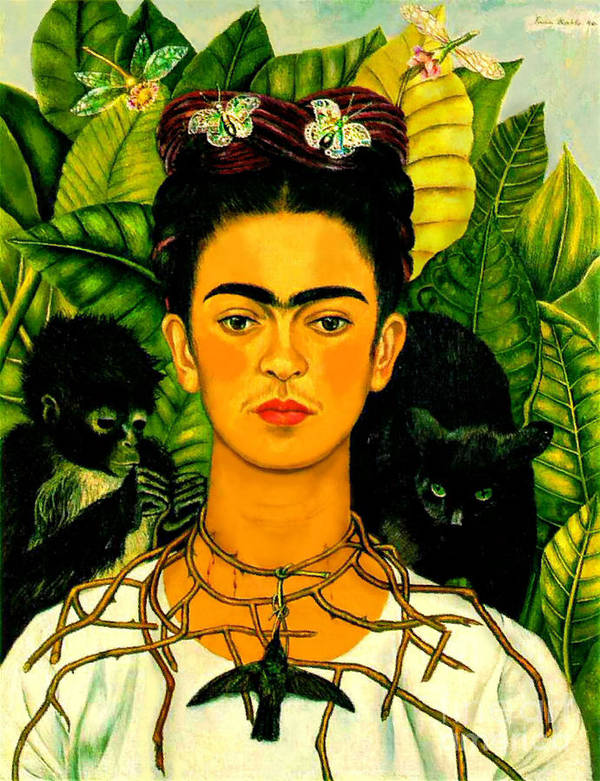 Frida Paintings Art Print featuring the painting Frida Kahlo Self Portrait With Thorn Necklace And Hummingbird by Pg Reproductions