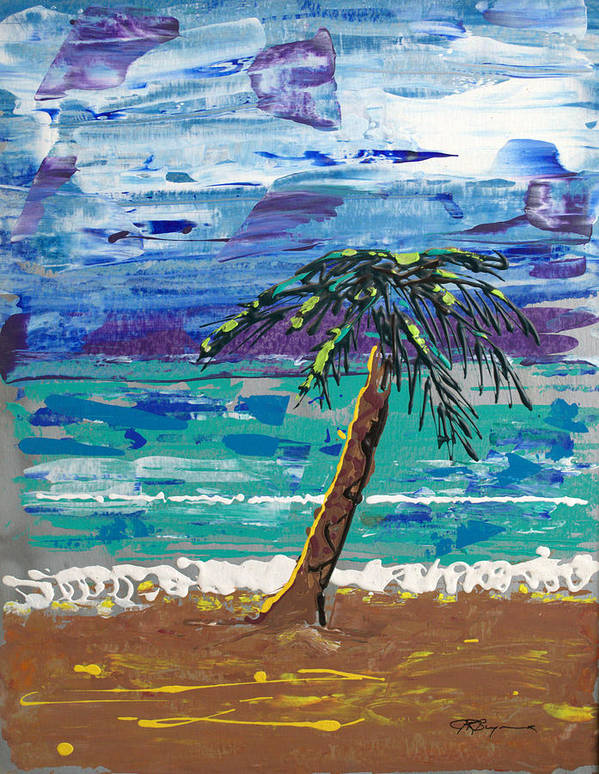 Palm Tree Art Print featuring the painting Palm Beach by J R Seymour