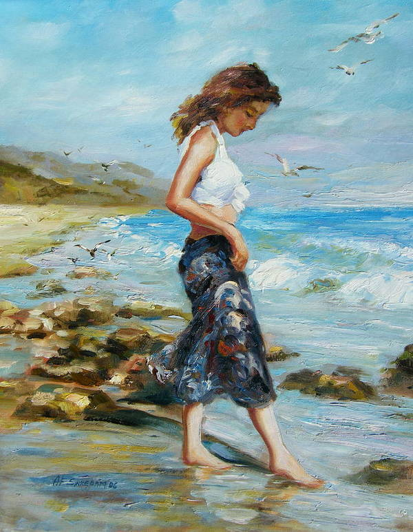 Seascape Art Print featuring the painting Pondering Too by Imagine Art Works Studio