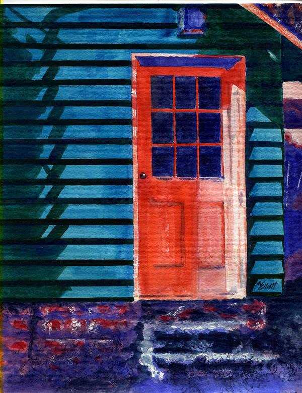 Door Art Print featuring the painting Side Door by Marsha Elliott