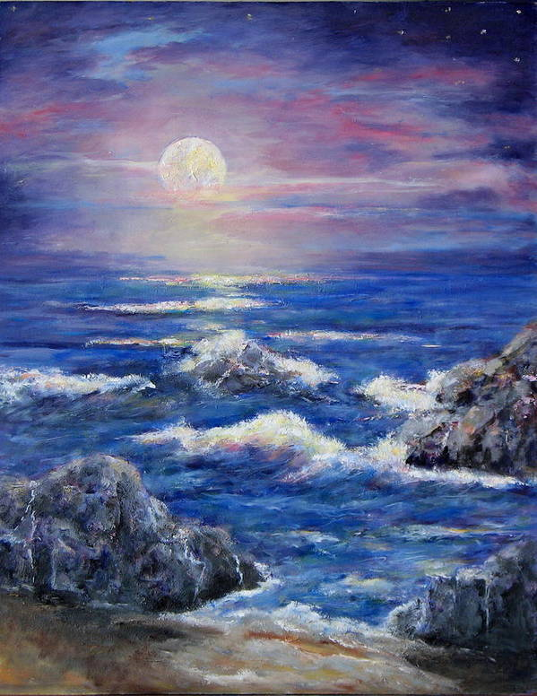 Full Moon On The California Coast Art Print featuring the painting Tranquility by Thomas Restifo