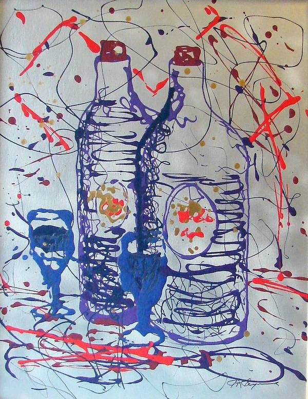 Wine Glass And Bottles Art Print featuring the painting Wine Jugs by J R Seymour
